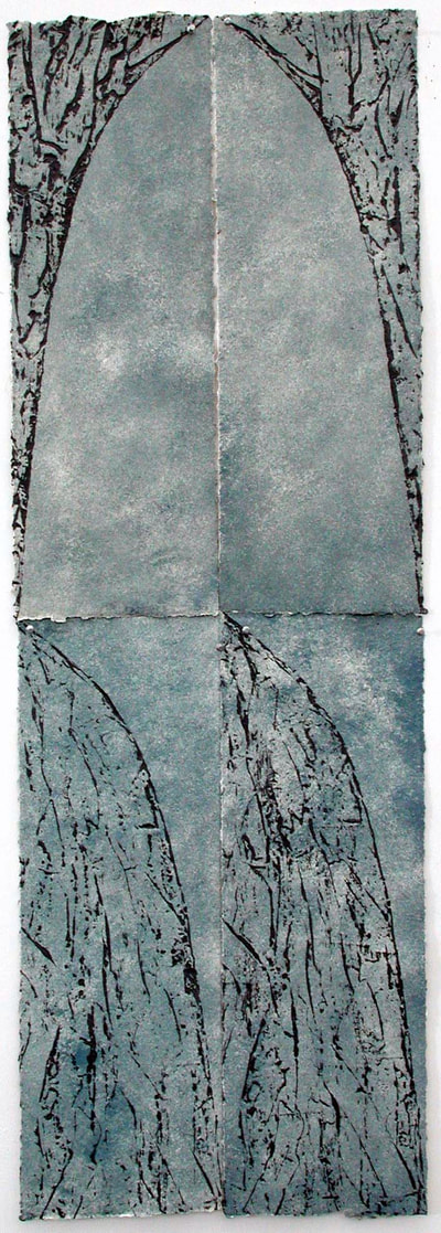 "LB8713 | Lillian Ball Monoprint on handmade paper 1987 60"" x 20"""