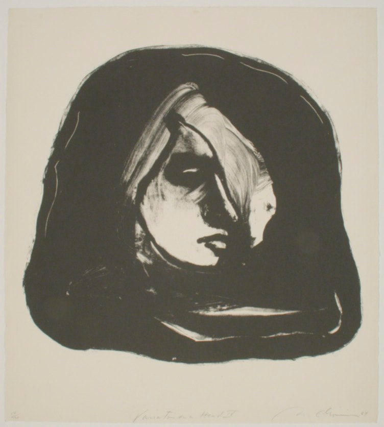 "Nathan Oliveria ""Variation on a head IV"" 1964_litho 12/20 ragpaper 25""x22.5"""
